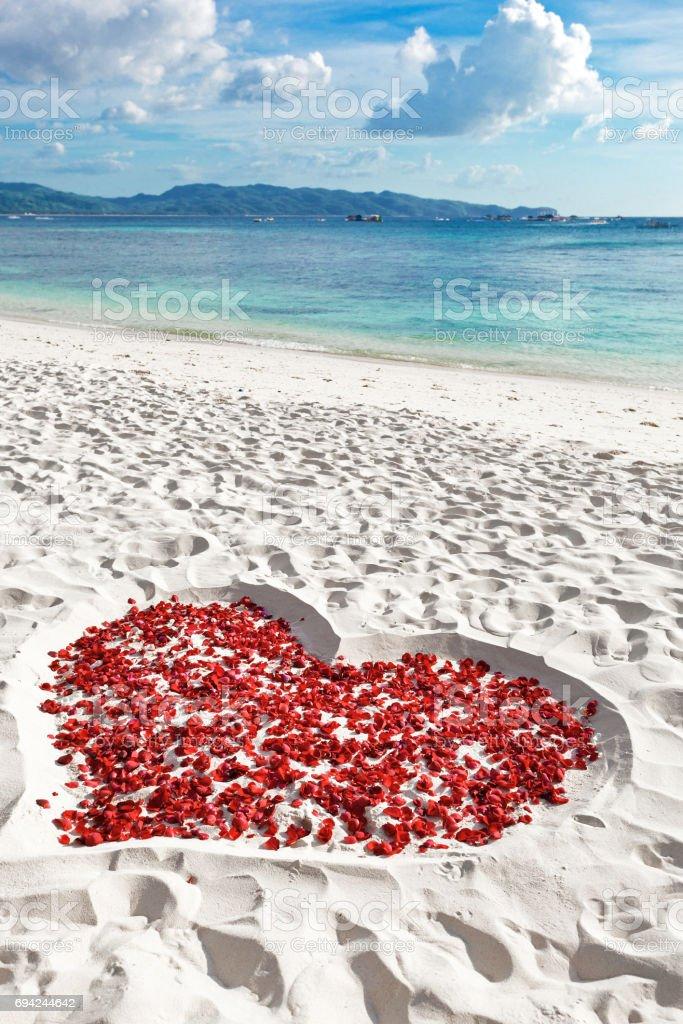 Heart of roses petals on sea sand beach stock photo