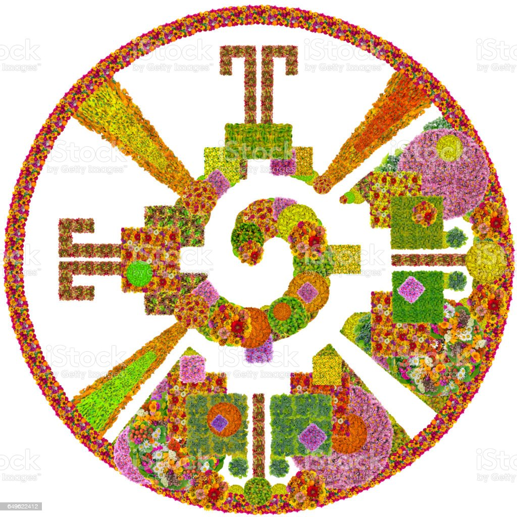 Heart Of The Galaxy Mayan Symbol For God Made From Summer Flowers ...