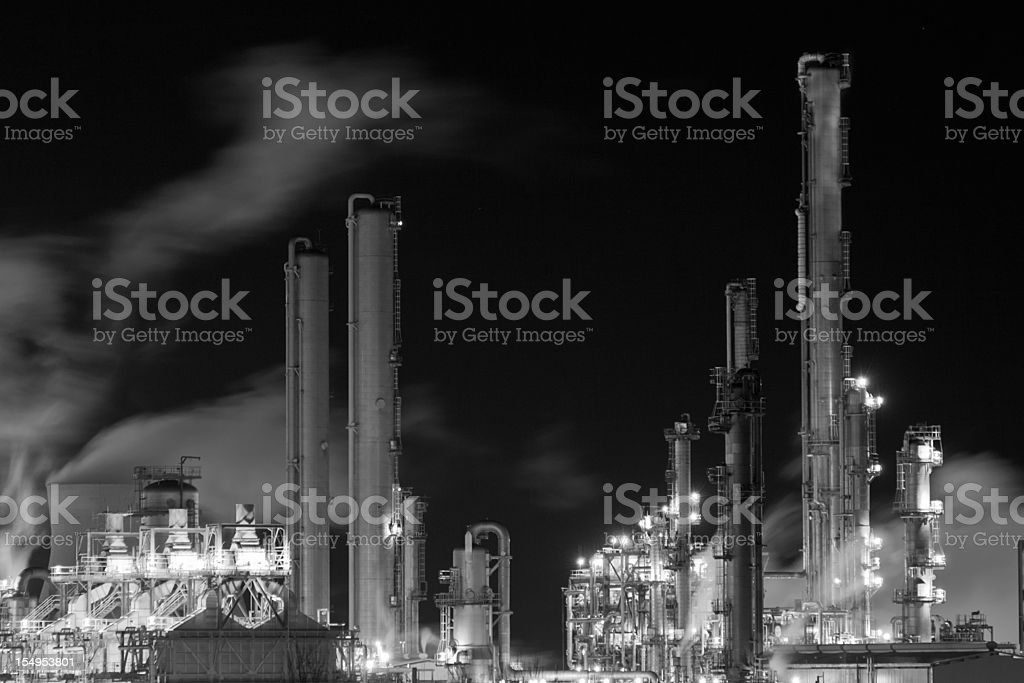 Heart of the Grangemouth oil refinery at night. royalty-free stock photo