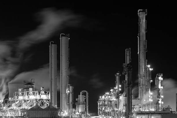 Heart of the Grangemouth oil refinery at night. stock photo