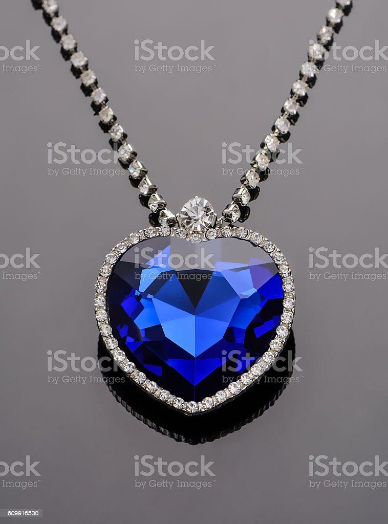Heart of the ocean. Sapphire stock photo