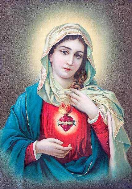 Heart of Virgin Mary - typically catholic image Sebechleby - Typical catholic image of heart of Virgin Mary from Slovakia printed in Germany from the en od 19. cent. originally by unknown artist. religious saint stock pictures, royalty-free photos & images