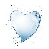 Heart from water splash with bubbles isolated on whiteClick and find more: