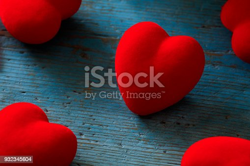 Heart on a blue wooden background