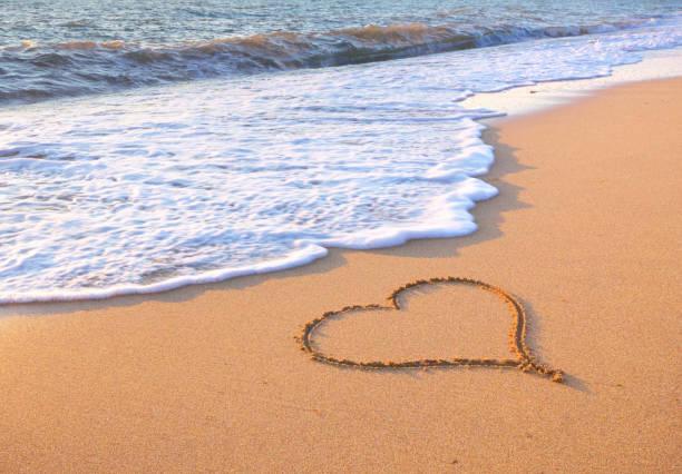 Heart on beach. stock photo