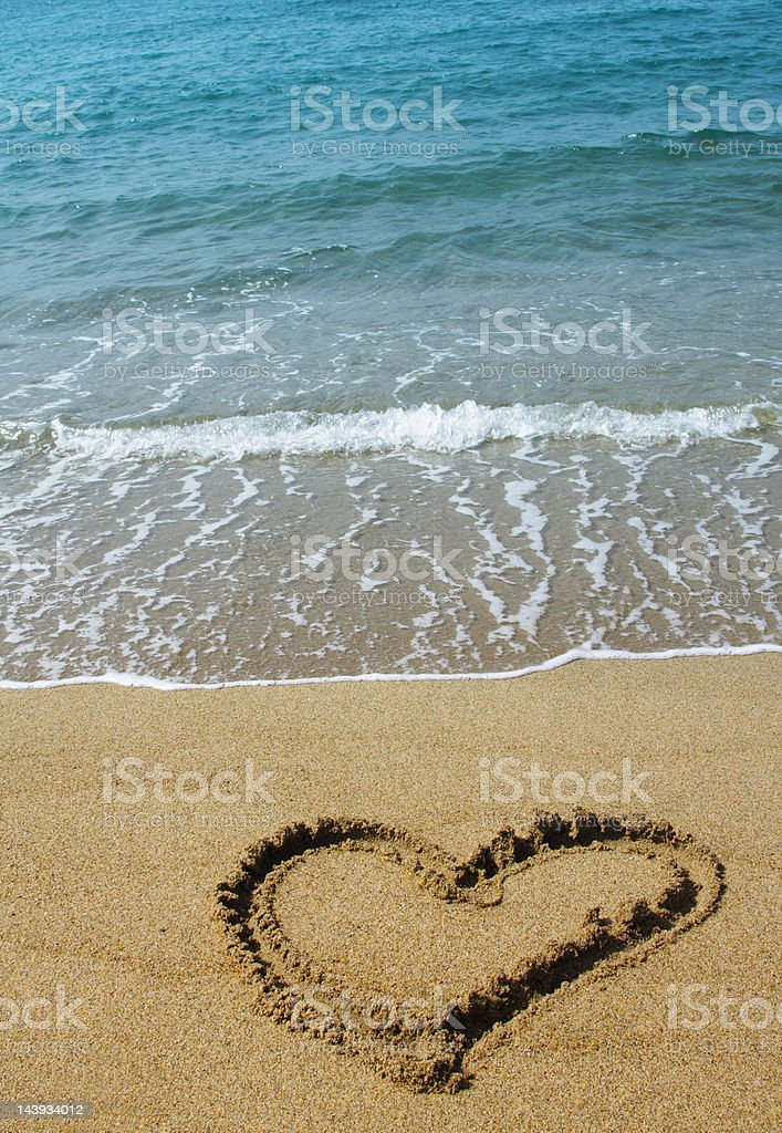 Heart on beach royalty-free stock photo
