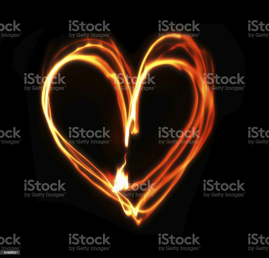 heart on fire stock photo