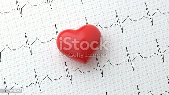 istock Heart on Heart Rhythm Background Concept 1257645087