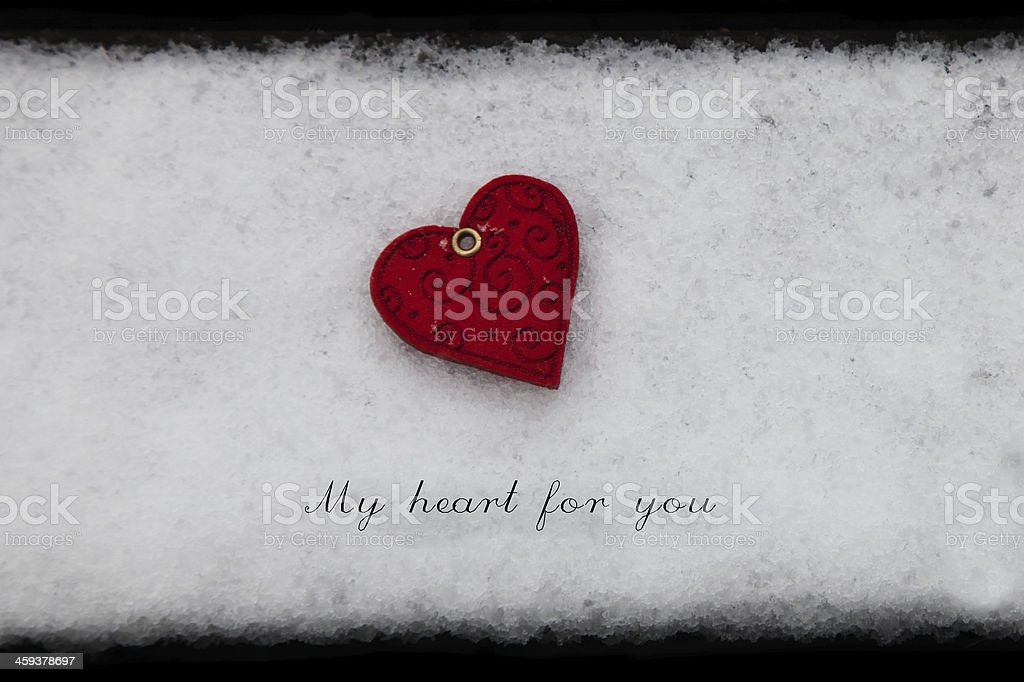 Heart on Snow Valentine Card royalty-free stock photo
