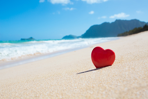 Close up of heart on the beach in beautiful Hawaii.