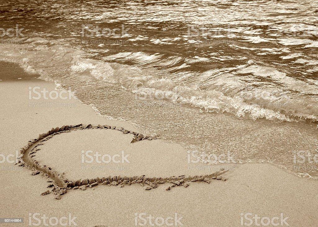 Heart on the beach royalty-free stock photo
