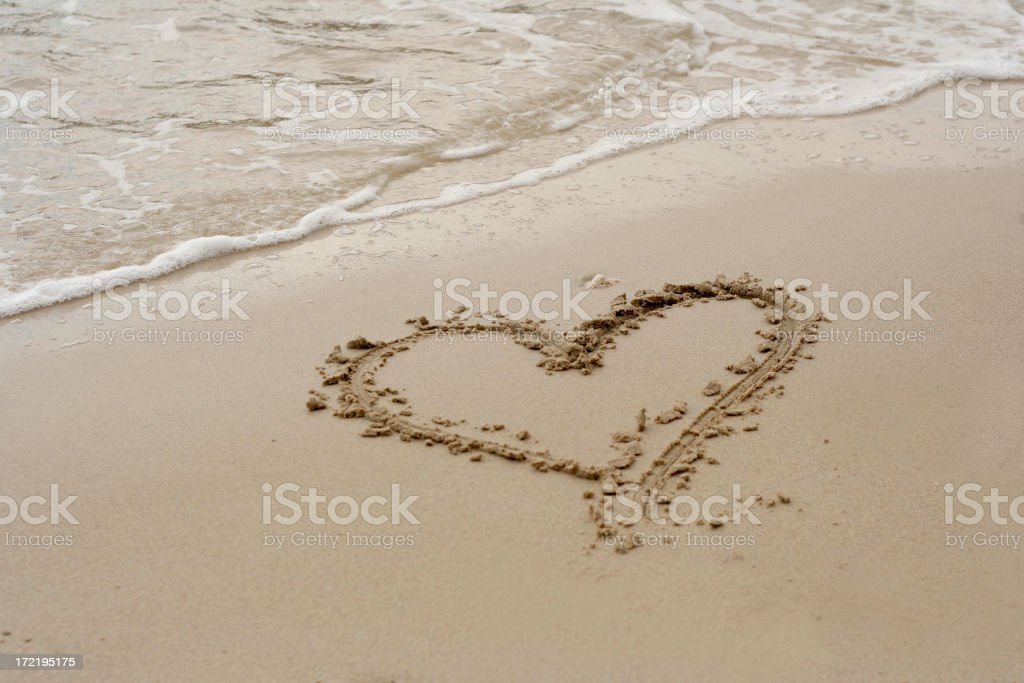Heart on the sand royalty-free stock photo