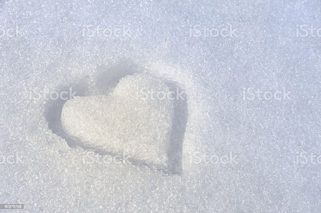 Heart on the snow - background royalty-free stock photo