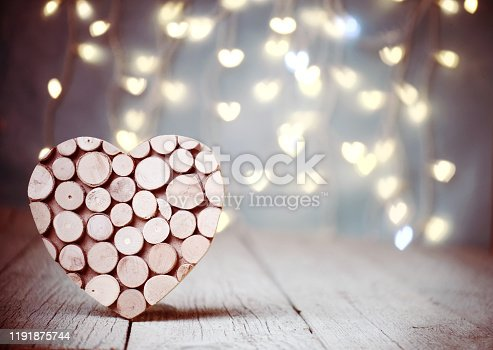 heart on wood background