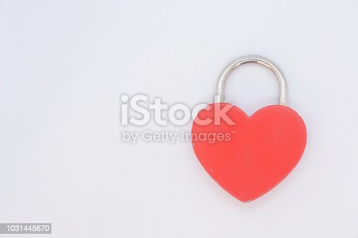 Heart padlock on a white background