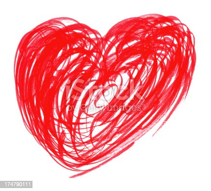 Heart painting with brush stroke isolated on white