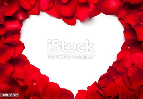 Heart made of red rose petals
