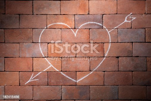 Chalk drawing on wall. To see more Heart images click on the link below: