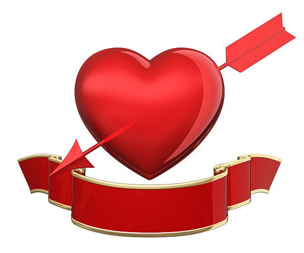 coração piercing setas - gradients golden ribbons imagens e fotografias de stock