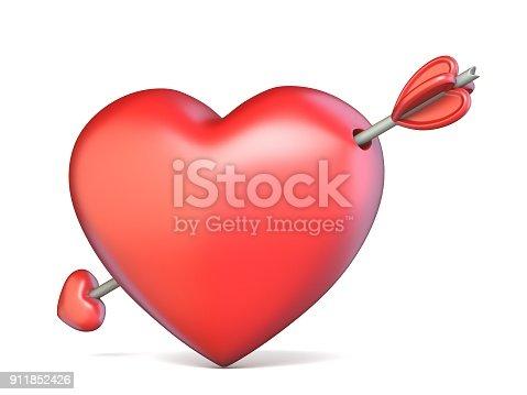 970844120 istock photo Heart pierced by arrow Valentine's concept 3D 911852426