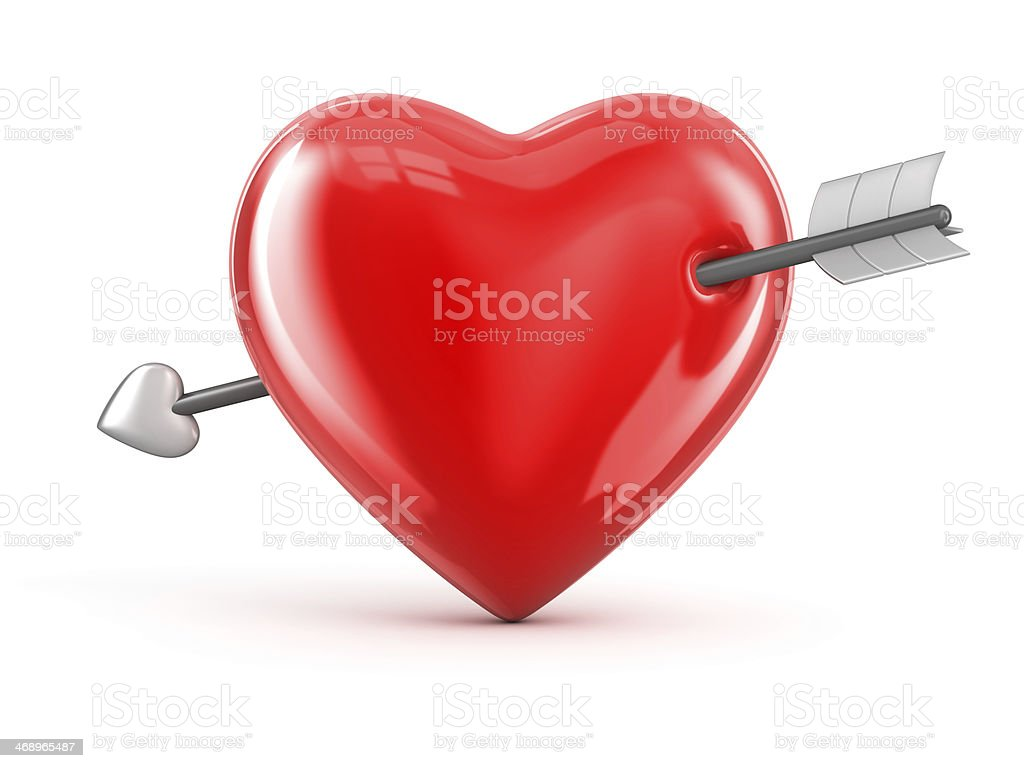 Heart pierced with an arrow royalty-free stock photo