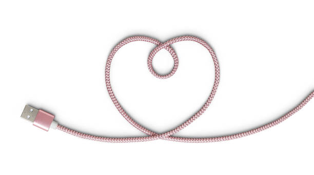 Heart Pink USB cable on white with clipping path stock photo