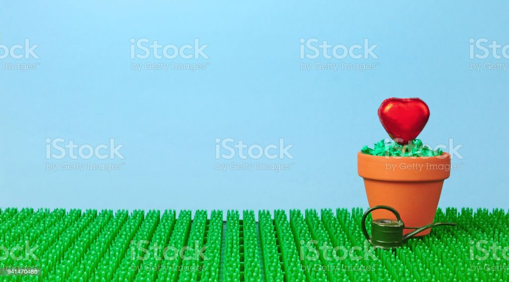 heart potted in clay pot stock photo