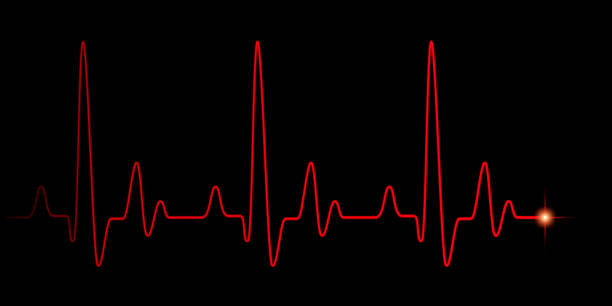 Heart pulse red graphic line on black Heart pulse red graphic line on black, healthcare medical background with heart cardiogram, cardiology concept pulse rate diagram illustration pulse trace stock pictures, royalty-free photos & images