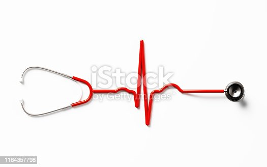 Heart pulse shaped stethoscope on white background. Health concept. Horizontal composition with copy space. Directly above.