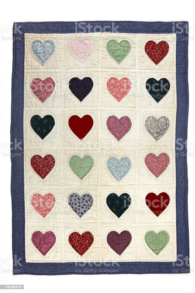 Heart quilt blanket royalty-free stock photo