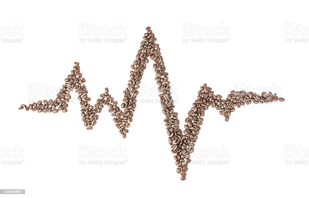 Heart Rate Line in Coffee Beans stock photo