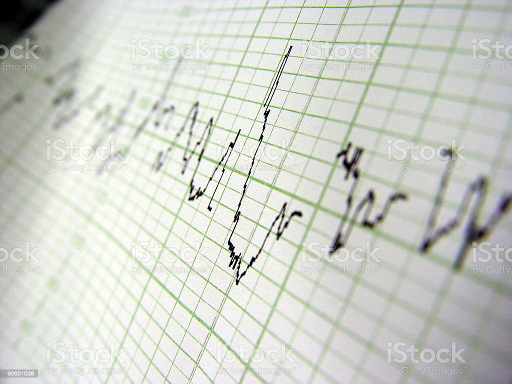 Heart rate on medical print out royalty-free stock photo