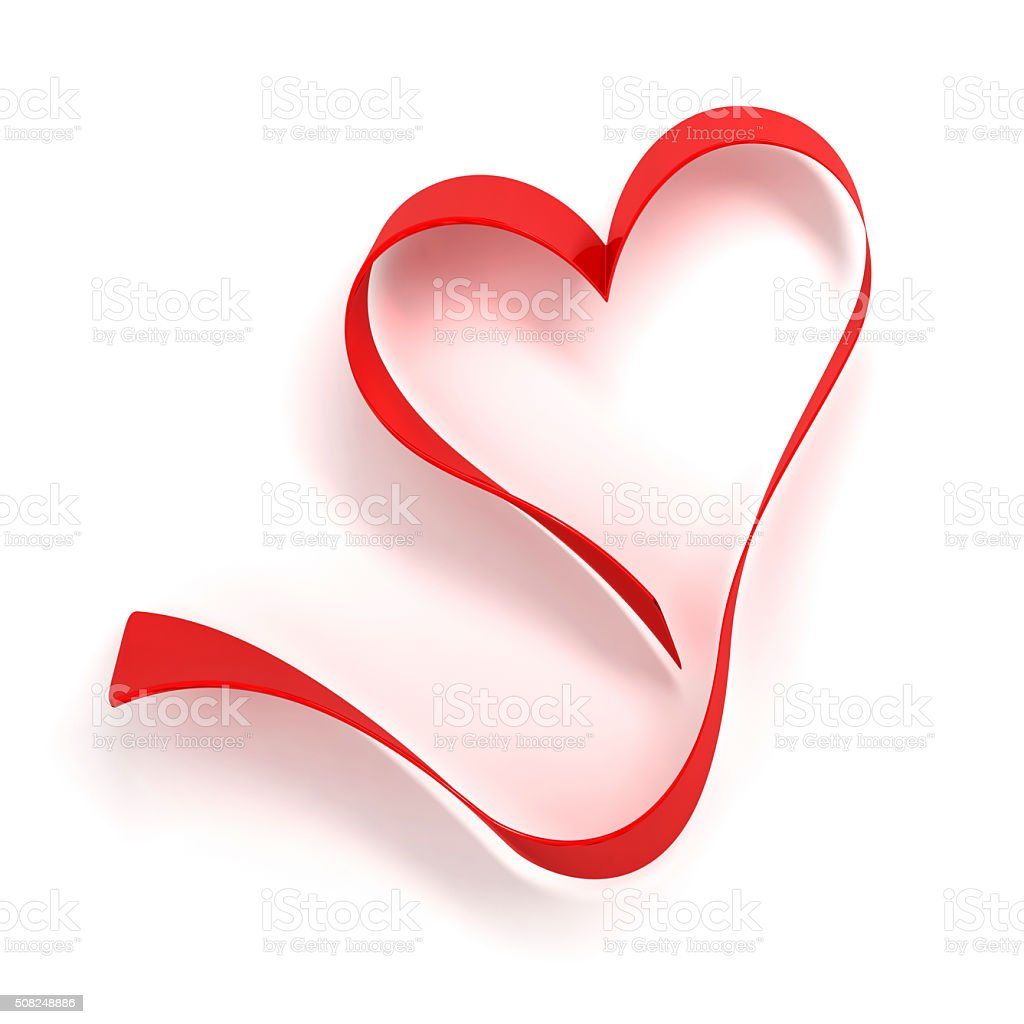 Heart red ribbon stock photo