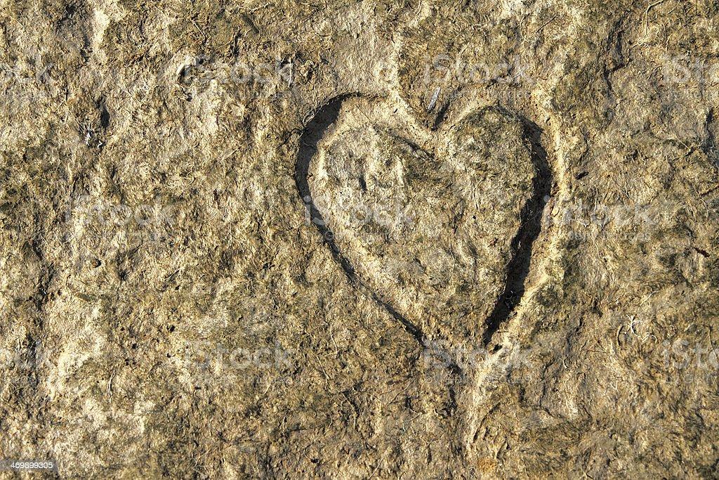 Heart Scraped into Sandstone royalty-free stock photo