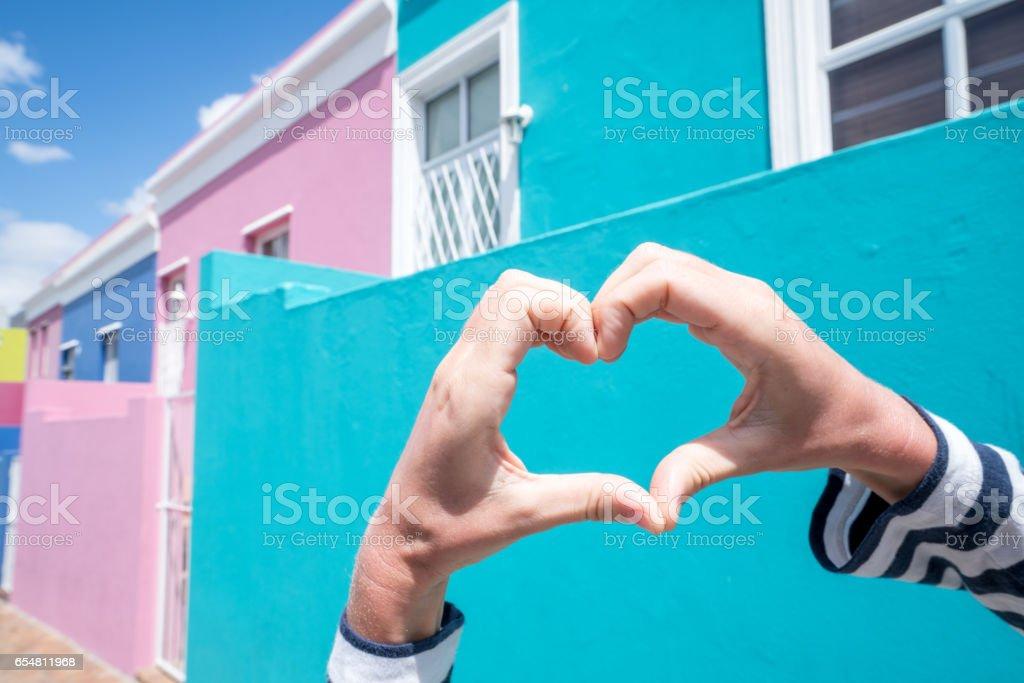 Heart shape against Bo Kaap houses stock photo