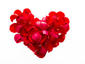 Heart shape by red rose petals