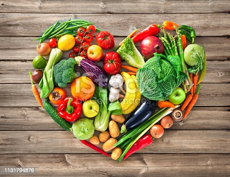 istock Heart shape by various vegetables and fruits 1131794876