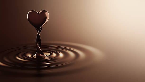 heart shape chocolate - chocolate swirl stock photos and pictures