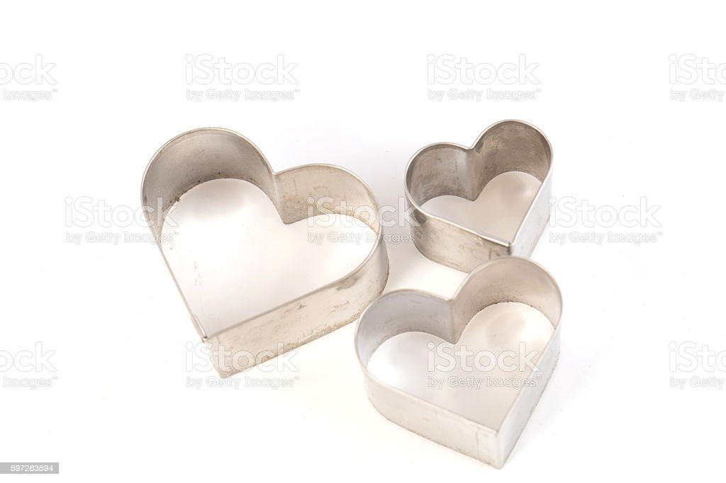 Heart shape cookie molds stock photo
