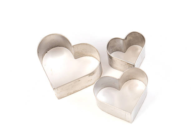Heart shape cookie molds Heart shape cookie molds on white background,soft focus cookie cutter stock pictures, royalty-free photos & images