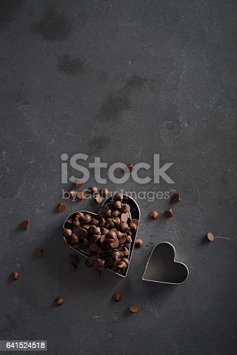 istock heart shape cutters with chocolate chip 641524518