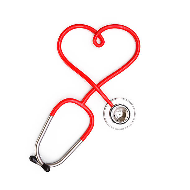 Heart shape from stethoscope stock photo