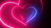 istock Heart Shape, Glowing, Neon Lights, Abstract Background 1180473593