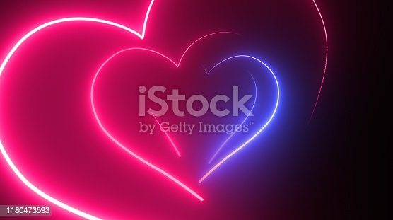 Heart Shape, Glowing, Neon Lights, Abstract Background