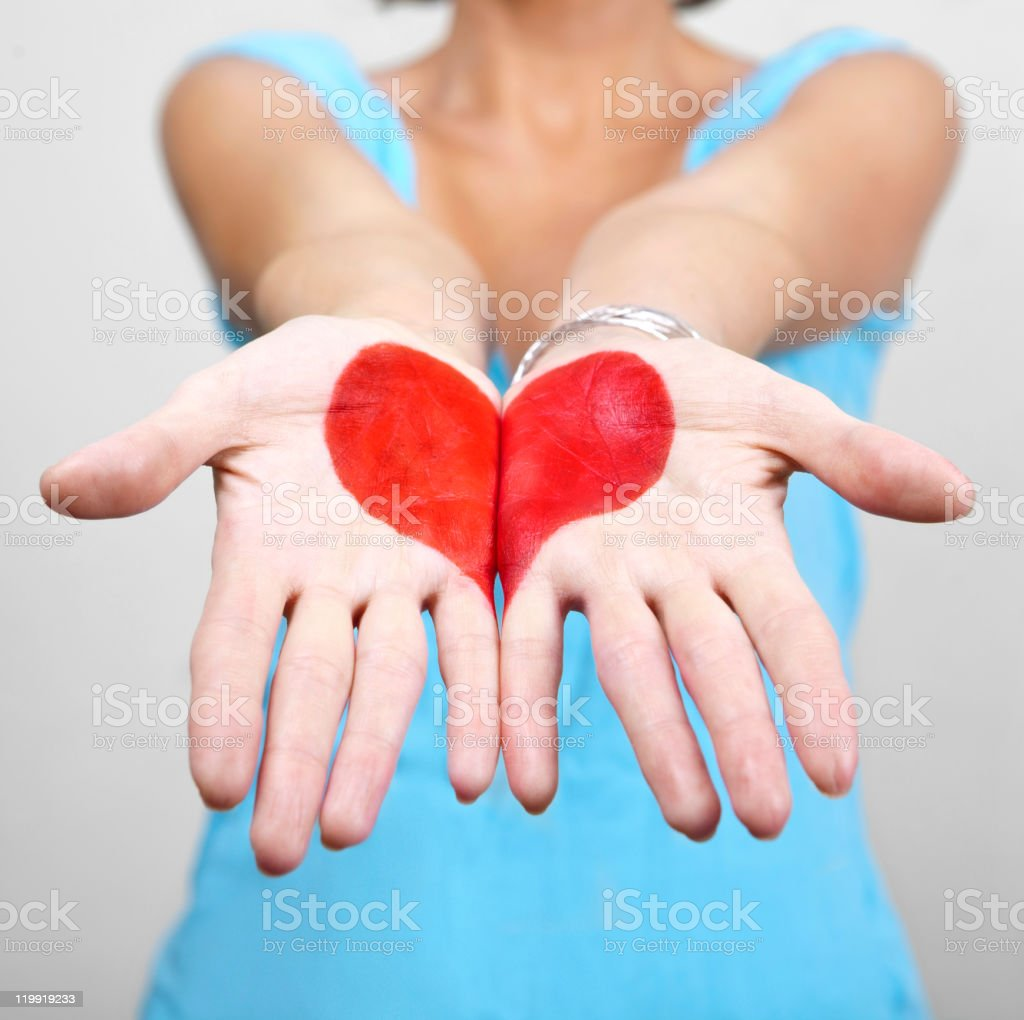 Heart Shape in female hands royalty-free stock photo