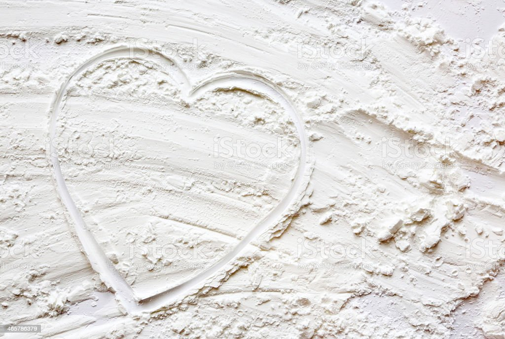 Heart shape in flour royalty-free stock photo