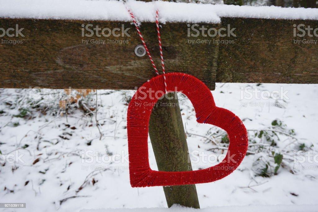 Heart shape in winter stock photo