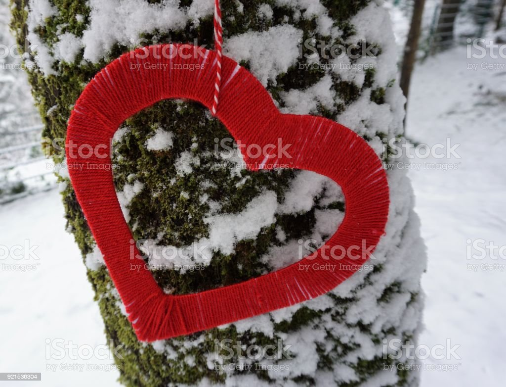 heart shape in winter time stock photo