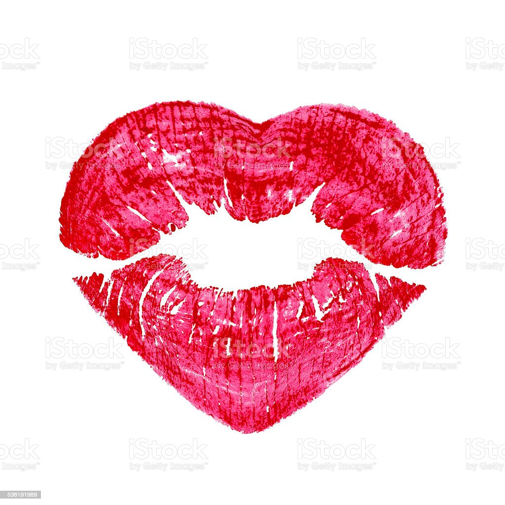 heart shape kissing lips isolated over a white background stock photo