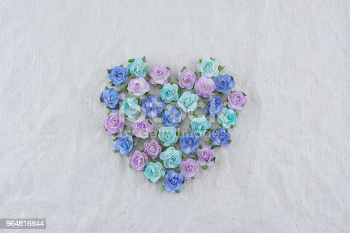 Heart Shape Made From Blue Tone Rose Paper Flowers Stock Photo & More Pictures of Backdrop - Artificial Scene